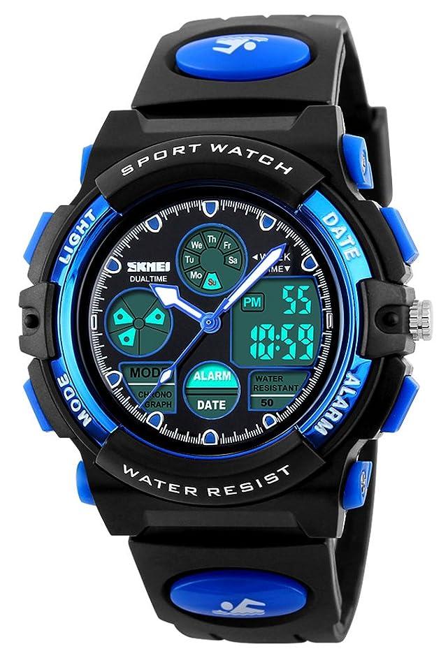 アダルトカレッジ驚男の子女の子スポーツデジタルアナログWatch Kidsアウトドア防水ストップウォッチLED電子Wrist Watches Men's standard ブルー