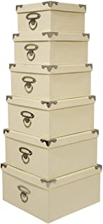 Seasonal Packaging Decorative Storage Boxes Mixed Pastel or Cream Colors - Nested, Metal Reinforced Corners, Set of 6 Assorted Sizes (Vanilla Cream)