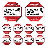 Video Surveillance Sign 10 Pack, CCTV 24 Hour Warning Sticker Door Window Yard Sign, Indoor & Outdoor Use (2-6x6', 8-3x3' Decal)