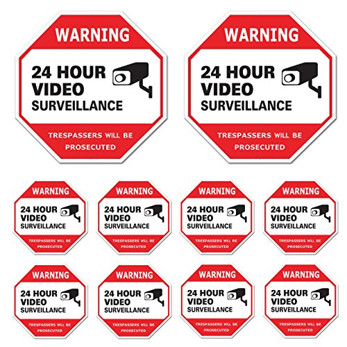 Video Surveillance Sign 10 Pack, CCTV 24 Hour Warning Sticker Door Window Yard Sign, Indoor & Outdoor Use (2-6x6', 8-3x3' Decal)