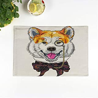 rouihot Set of 4 Placemats Hipster Dog Akita Inu Breed in Glasses and Bow 12.5x17 Inch Non-Slip Washable Place Mats for Dinner Parties Decor Kitchen Table