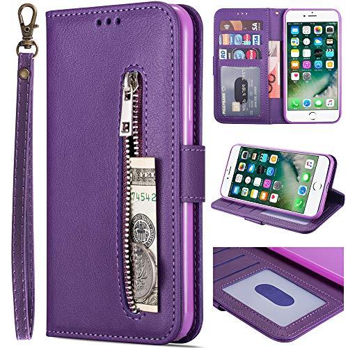 iPhone 6S Plus Wallet Case for Women/Men,Kudex Premium Flip Leather Kickstand Magnetic Wallet Case w/Card Holder,Money Pocket&Wrist Strap Full Protective Zipper Purse Case for iPhone 6 Plus (Purple)