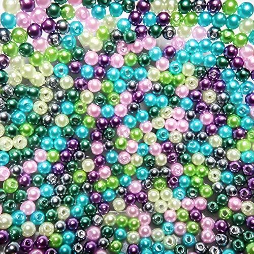TOAOB 1000 Stück ABS Perlen 5mm Runde Bunt Lose Perlen für Schmuck Machen