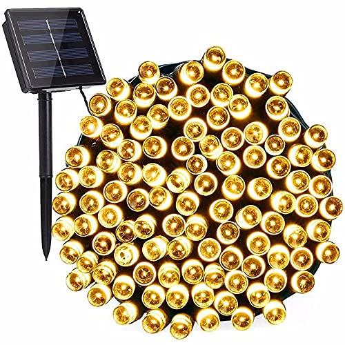 ZXAOYUAN luz de Cortina, con 12 Metros 100 Luces, 8 Luces de Cortina de función, Luces de Hadas de Navidad, Dormitorio, Boda, Fiesta, decoración Warm White