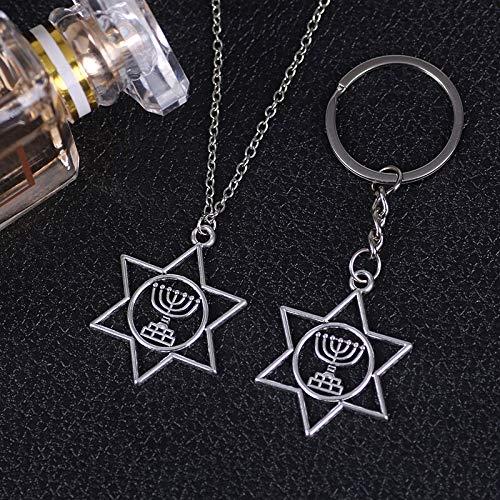 Anhänger Halskette Vintage Punk Halskette Für Männer Frauen Schlüsselbund Sechszackigen Kerzenhalter Alte Silber Anhänger Retro Schmuck Geschenk