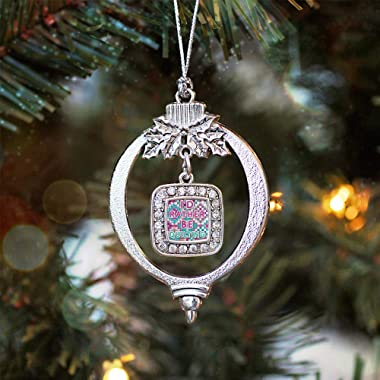 Inspired Silver - I'd Rather Be Quilting Charm Ornament - Silver Square Charm Holiday Ornaments with Cubic Zirconia Jewel