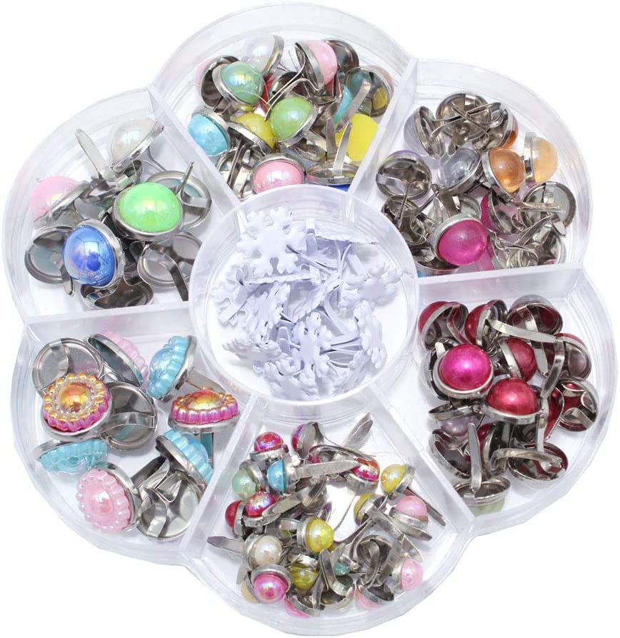 BESTCYC 1Box 115pcs Mixed Size Style Color Metal Paper Brass Paper Fasteners Pastel Brads for Art Crafting School Project Decorative Scrapbooking DIY Supplies
