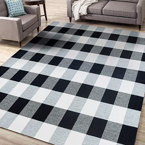 Asrug Buffalo Plaid Teppich schwarz und weiß kariert Teppich waschbar Fußmatte Überwurf Teppich für Veranda, Küche, Bad, Eingangsbereich 60
