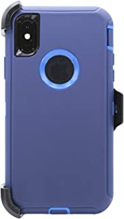 WallSkiN Turtle Series Cases for iPhone Xs/iPhone X (Only) Tough Protection with Kickstand & Holster - Midnight (Navy Blue/Blue)