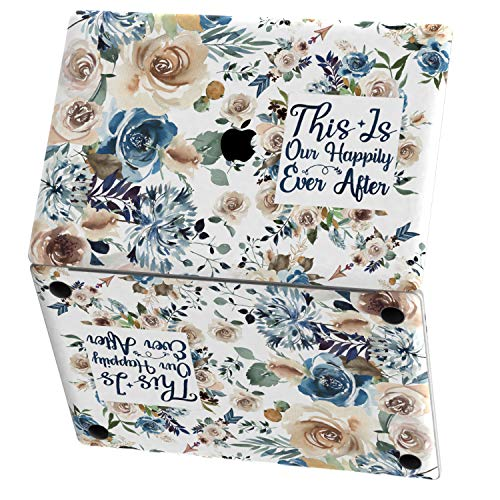 Mertak Vinyl Skin for Apple MacBook Air 13 inch Mac Pro 16 15 Retina 12 11 2020 2019 2018 2017 Touch Bar Saying Wrap Roses Watercolor Bible Trackpad Keyboard Floral Print Cover Blue Christian Quote