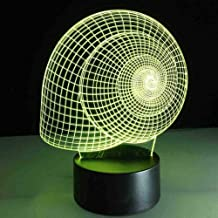 RJGOPL USB 7 kleuren veranderende mode 3D LED nachtlampje Snail Shell Vortex Shape Lamp Bedside Table Light Home Decor Cre...