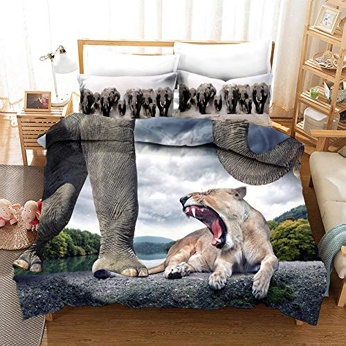 aakkjjzz Duvet Cover King Size Ultra Soft Bed Set with Zipper Closure 100% Polyester Quilt Cover and 2 Pieces Pillowcases Machine Washable Elephant and Lion for Bedroom Daybed 230X220cm