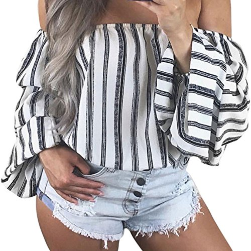 YCQUE Frauen Sommer Vintage Mode Lässig Schulterfrei Bluse Lose Hemd Lässige Streifen Laterne Hülse Lose Plus Größe T-Shirts Strand Tops