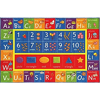 KC CUBS Kev & Cooper Playtime Collection ABC, Numbers and Shapes Educational Area Rug - 5'0  x 6'6