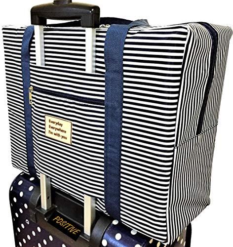 (ポジティブ)折りたたみ ボストンバッグ 機内持込可 スーツケースに固定可 2泊3日分の荷物が入る 旅行バッグ トラベルバッグ 保証書付 (折りたたみ(ストライプ(ネイビー)))