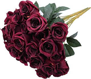 Greentime Artificial Burgundy Flowers 16 Inches Artificial Silk Rose Faux Rose Mother's Day Bouquet 12 Heads Vintage Rose ...