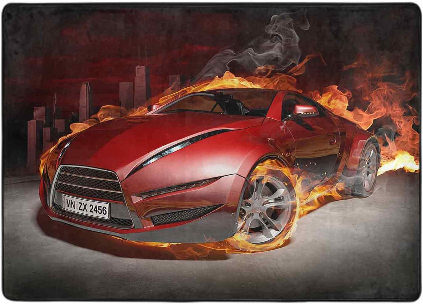 Print Online limited product Area Rug Red Max 63% OFF Sports car. Burnout. My own 6' Design. x car