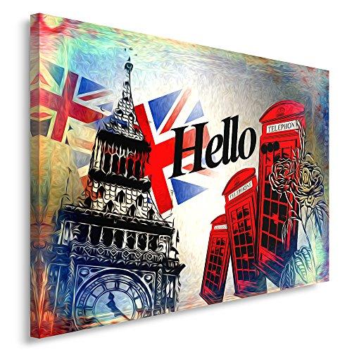 Feeby Frames, Leinwandbild, Bilder, Wand Bild, Wandbilder, Kunstdruck 40x60cm, London, Hallo, Inschrift, Symbole, Flagge, Zelle, MODERN