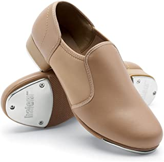 Balera Shoes Girls for Dance Tap Shoes Womens Slip On Shoe with Leather and Stretch Inset Rubber Sole with Taps