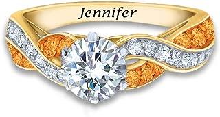 Birthstone Swirl Personalized Ring – Swarovski Crystal...