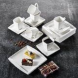 MALACASA, Serie Blance, 36 TLG. Set CremeWeiß Porzellan Kaffeeservice Geschirrset, mit 12 Stück Kuchenteller, 12 Stück 180ml Tasse und 12 Stück Untertasse für 6 Personen