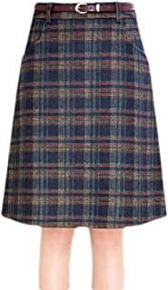 Macondoo Womens Checkered A-line High Waist Winter Vintage Woolen Midi Skirt