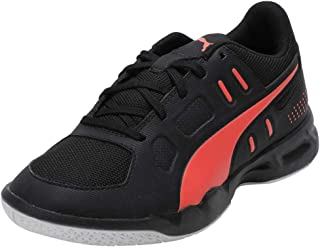 Puma Unisex's Auriz Jr Black-nrgy Red White Badminton Shoes