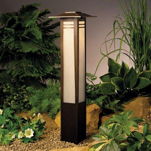 Kichler 15392OZ Zen Garden Bollard 1-Light 12V, Olde Bronze