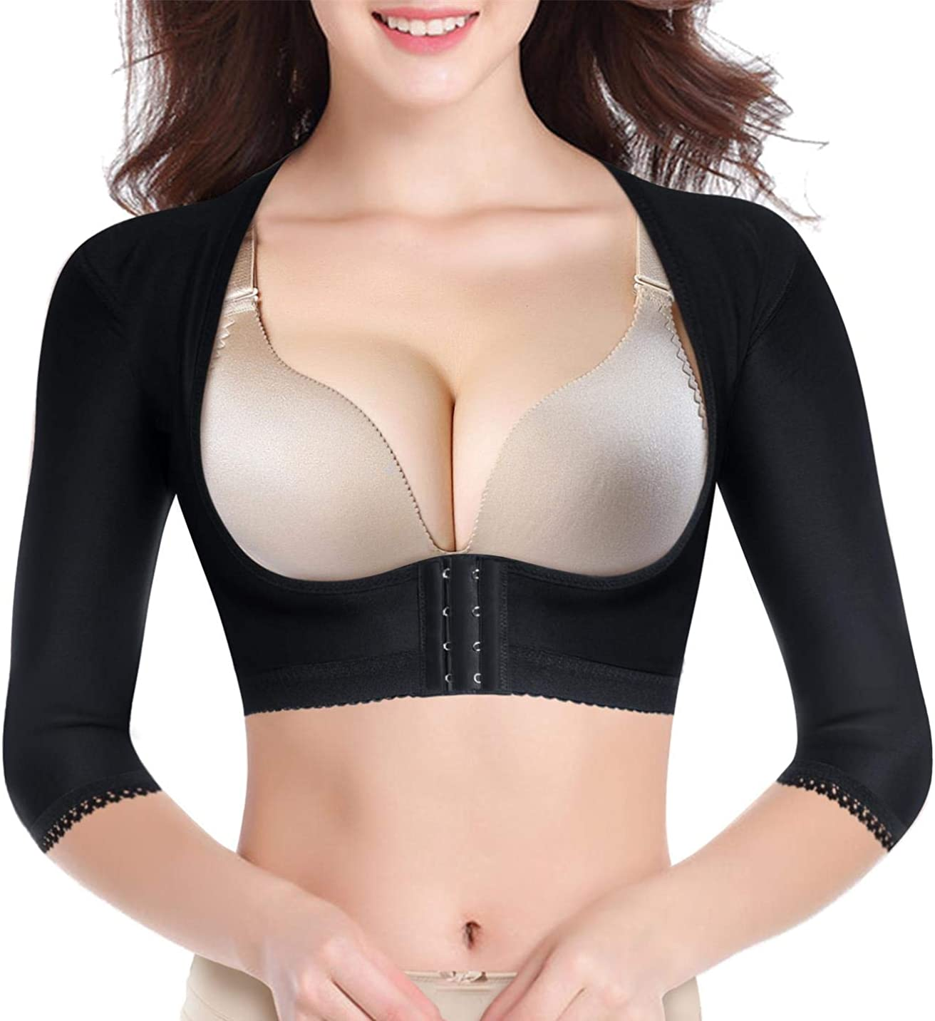 BRABIC Upper Arm Shaper Post Surgical Slimmer Compression Sleeves Posture Corrector Tops Shapewear for Women