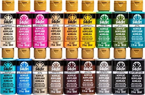 FolkArt PROMOFAI Matte Finish Acrylic Craft Paint Set Designed for Beginners and Artists, Non-Toxic Formula That Works on All Surfaces, Includes 18 2 oz Bottles, 2 Ounce, 1 Colors