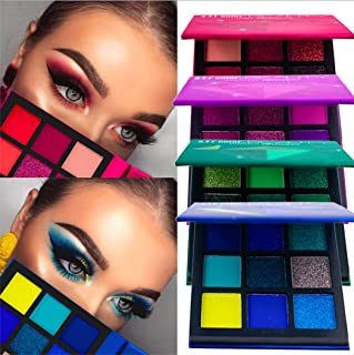 Eyret Matte Eyeshadows Palette Shimmer Eye Shadow 9 Colors High Pigmented Waterproof Long-lasting Eyeshadow Pallet Beauty Makeup for Women and Girls (Red 1#)