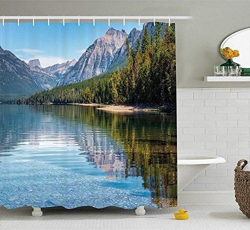 Nyngei Mcdonald Lake America Mountains Forest Countryside Rural Woods - Cortina de Ducha con Ganchos, 70.8 x 70.8 Pulgadas, Extra Larga, Color Verde y Morado