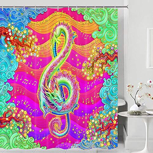 "Dragon Shower Curtain, Chinese Style Dragon Power Oriental Culture Theme, Waterproof Fabric Cloth Bath Curtain Bathroom Decor Set with 12 Hooks (69""X70"")"