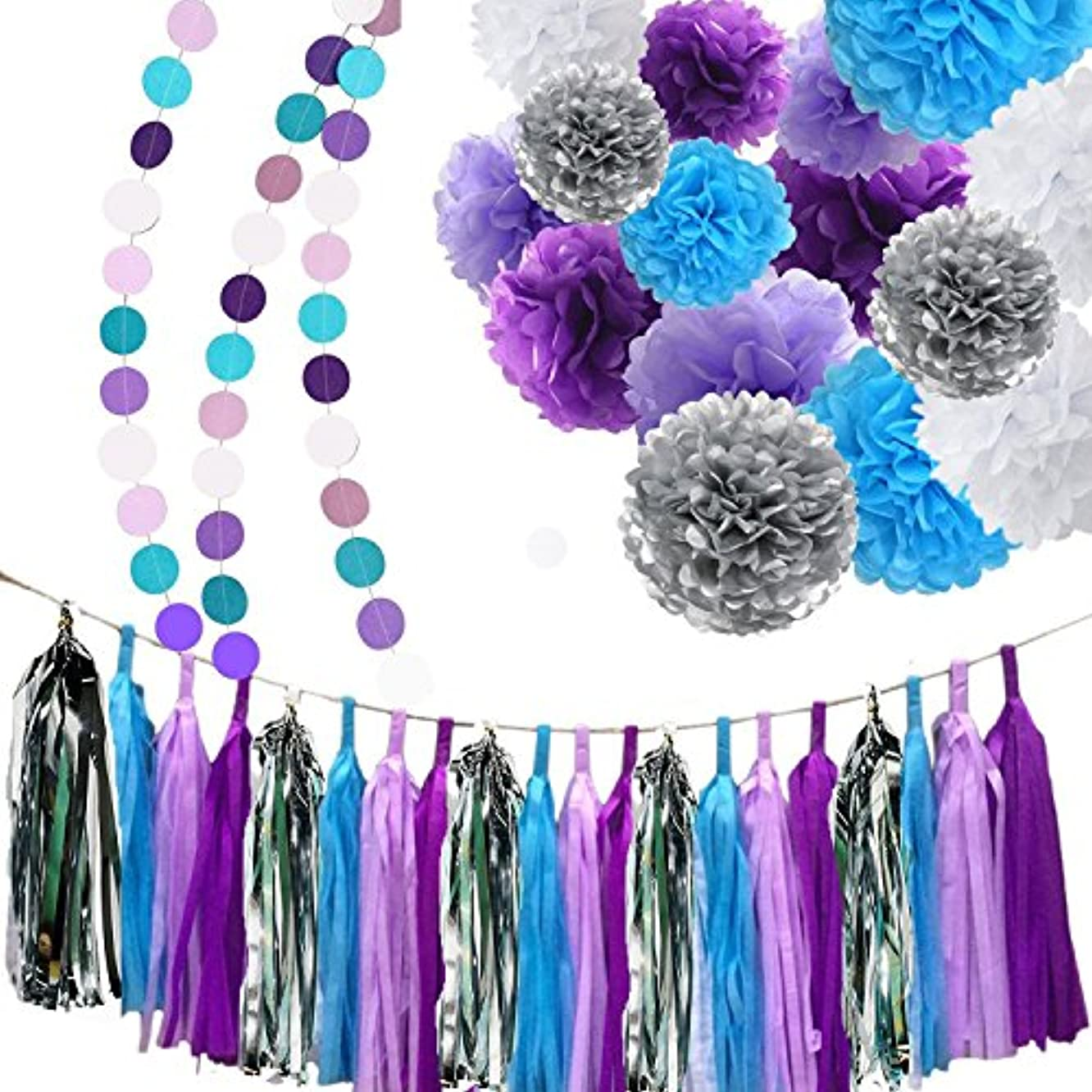 Bridal Shower Decorations Purple White Silver TIssue Pom Pom Amaranth Purple Silver Circle Paper Garland for Baby Shower Decorations/Birthday Decorations