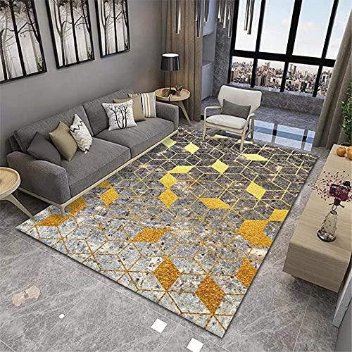 La Alfombra Alfombra pasillera Alfombra geométrica de Tinta Amarilla marrón Lavable Antideslizante Alfombra Cuarto Decoracion de habitacion 140*200cm