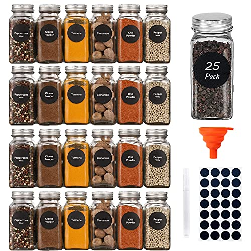 25 Pack Spice Jars, YULEER 4oz Glass Jars with Lids, Empty Square Spice Organizer with Shaker Lids & Airtight Metal Caps, Silicone Collapsible Funnel, Blanket Labels, Chalkboard Pen
