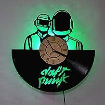 Daft Punk Band Vinyl Record Wall Clock, LED Luminous 12 Inch Retro Vinyl Record Clock Best Gift Decoration Seven Colors