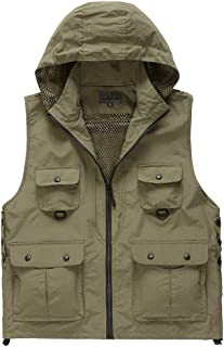 Men's Fishing Vest, Hooded Sleeveless Camping Jacket, Suitable for Outdoor/Travel/Photography/Fishing