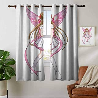 Grommet Curtains Anime,Cartoon Illustration of a Pixie Character with Hearts and Wings Fantastic Fairy Angel, Multicolor,Blackout Draperies for Bedroom Window 42