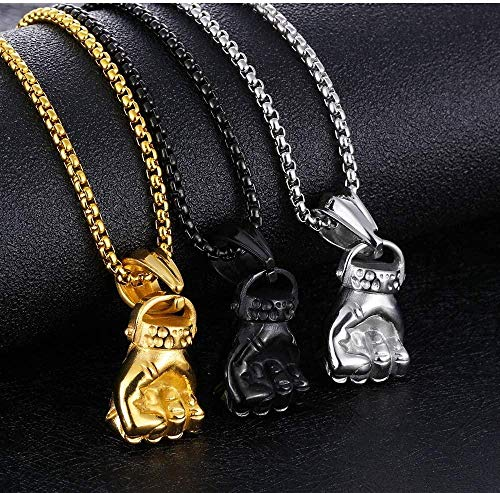 NC110 Premium Engraved Women And Men Couple Hip Hop Rocker Punk Wind Pendant Stainless Steel Sports Jewelry Black-Gold