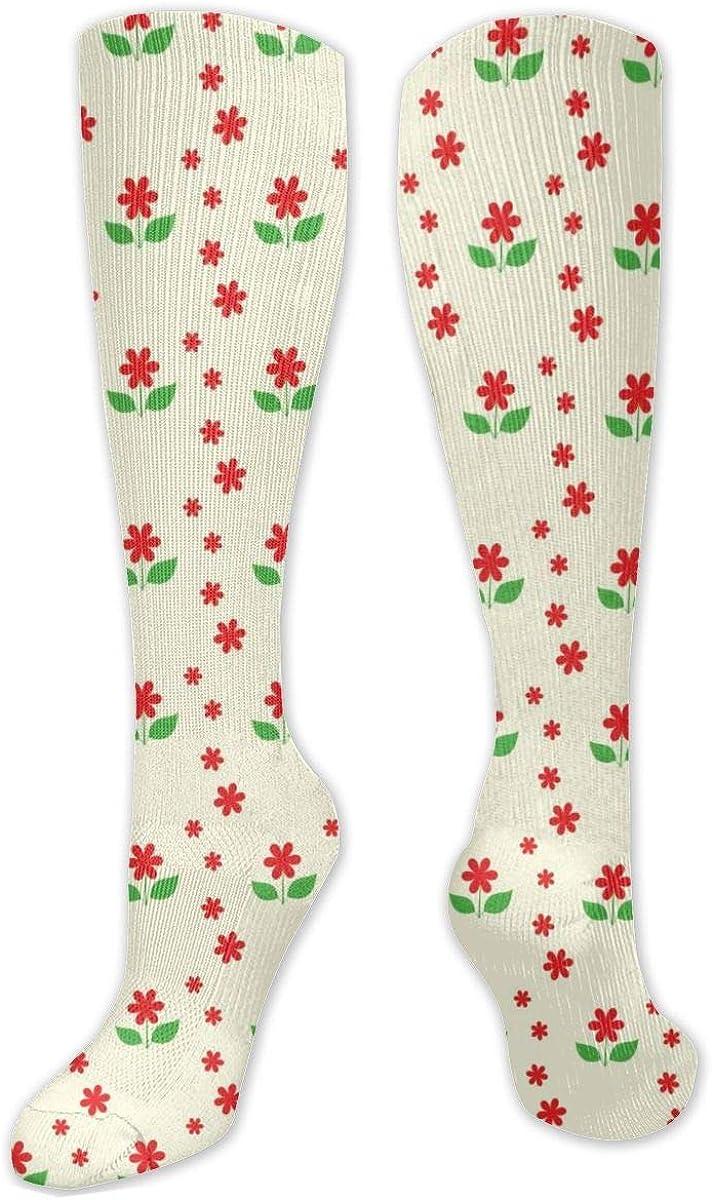 Red Cute Flower Knee High Socks Leg Warmer Dresses Long Boot Stockings For Womens Cosplay Daily Wear