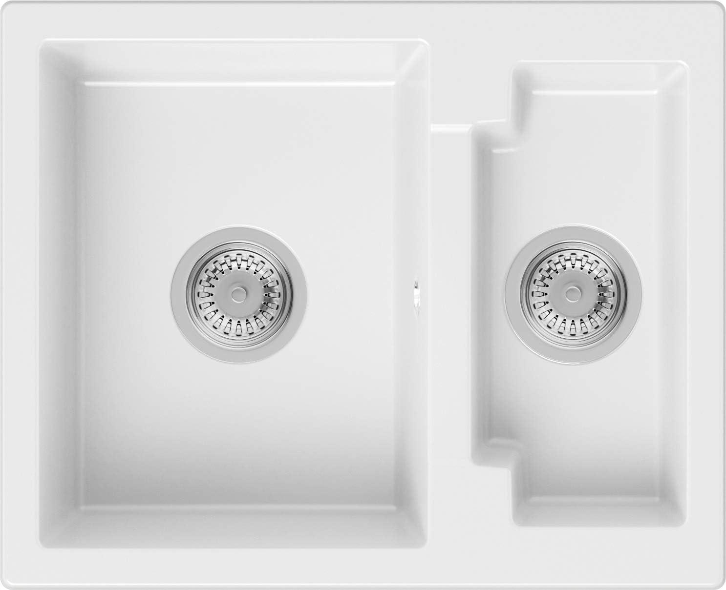 PRIMAGRAN Fregadero de Granito 59,5 x 48,5 cm, Lavabo Cocina 1,5 Senos + Sifón Clásico, Fregadero Empotrado Paris, Blanco