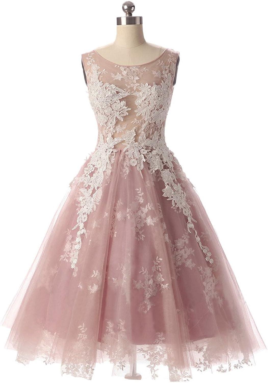Avril Dress Sweet Sleeveless Bidesmaid Applique Lace Homecoming Dress Short