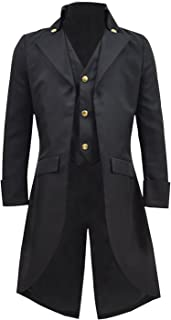 Very Last Shop Boys Gothic Tailcoat Jacket Black Steampunk Victorian Long Coat Vampire Costume