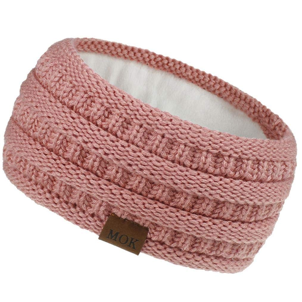 Womens Winter Ear Warmer Headband - Warm Winter Cable Knit Headband, Soft Stretchy Thick Fuzzy Headwrap Earwarmer (01-Pink)