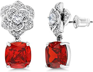 Gem Stone King Gorgeous Blue or Red Color Cubic Zirconia Dangle Rose Earrings