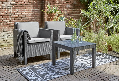 Allibert Balkon-Set Chicago mit 2-Sitzer 3tlg, graphit/cool grey - 3