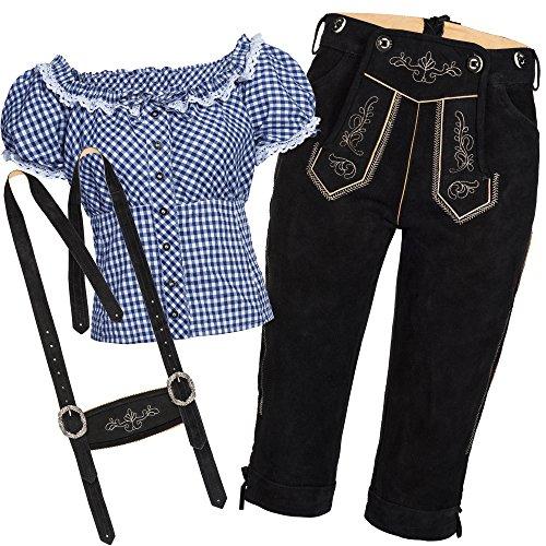 Bongossi-Trade Trachtenset Damen Trachten Lederhose schwarz mit Trachtenbluse blau weiß kariert 46-46
