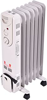 COSTWAY Oil Filled Radiator Heater, 1500W Portable Space Heater with Adjustable Thermostat, Overheat & Tip-Over Protection, Electric Ceramic Heaters for Bedroom Indoor Use (25.5