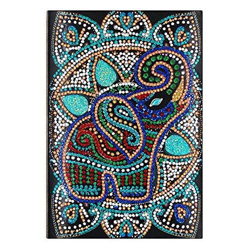 Kit de pintura de diamante 5D para cuaderno de adultos, DIY elefante con forma especial de diamante cuaderno A5 bloc de notas 50 páginas